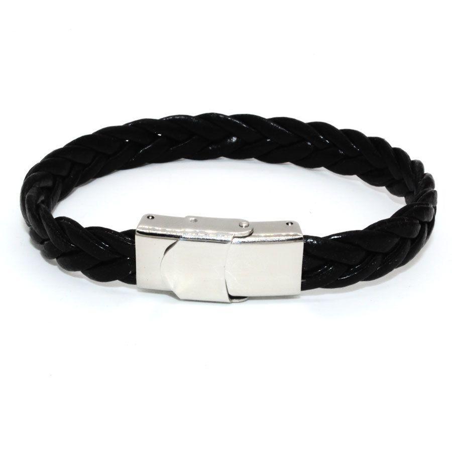 21CM PU Twist Leather Black Color Men Braided Custom Wrap Bracelet for Christmas Present Diy WO16