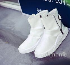 2016 Autumn Winter Men White Black Red Individuality Martin Boots Warm Englon Style Teenager Outdoor Wedge Boots Leisure Ankle Boots