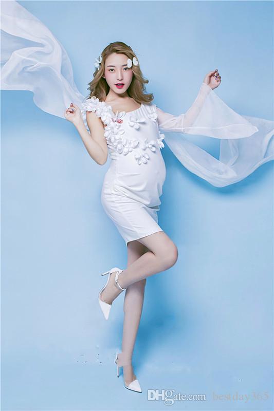 Nuova gravidanza progetto raffinato abito di maternità Fotografia Puntelli Reale Stile Dresse donne incinte Photo fiore Dress
