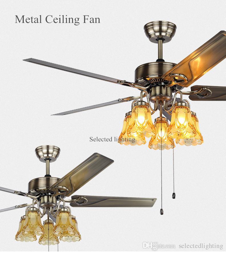 Retro Ceiling Fans with Chandelier glass lights Plafonnier Ventilateur Modern Ceiling Fan Light 48-inch 5-Wood Blade 110V 220V 5-Bulbs