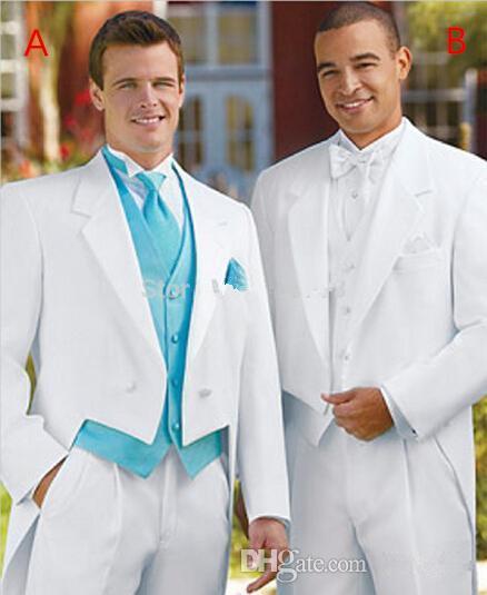 Men Suits For Wedding White Color Tails Groom Dresses Men Tuxedo Custom-made (jacket+pant+vest)