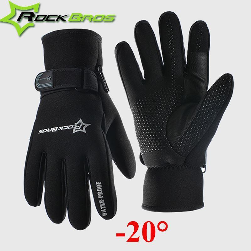 Rockbros Bike Full Finger Gloves Ghost Claw Velvet Winter Gloves Black Red M