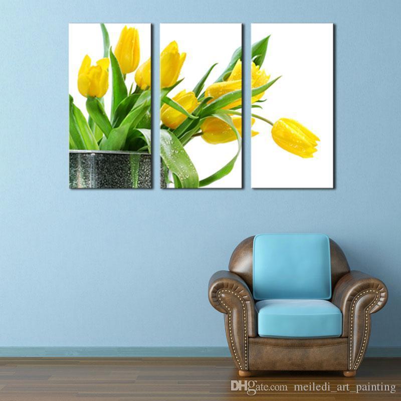 3 Combinación de imágenes Arte de la pared Flores de primavera verde Tulipán amarillo Pintura sobre lienzo Flor La imagen para el hogar Decoración moderna