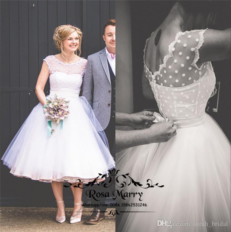 Vintage 1950/' Tea Length Wedding Dresses Short White Bridal Gowns Plus Size