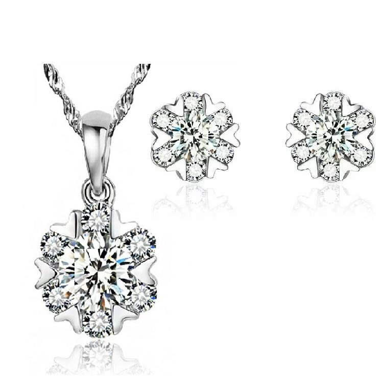 925 مجموعات المجوهرات الفضية الاسترليني القرط قلادة ستة ندفة الثلج على شكل سحر خمر الكلاسيكية الشحن المجاني الساخن