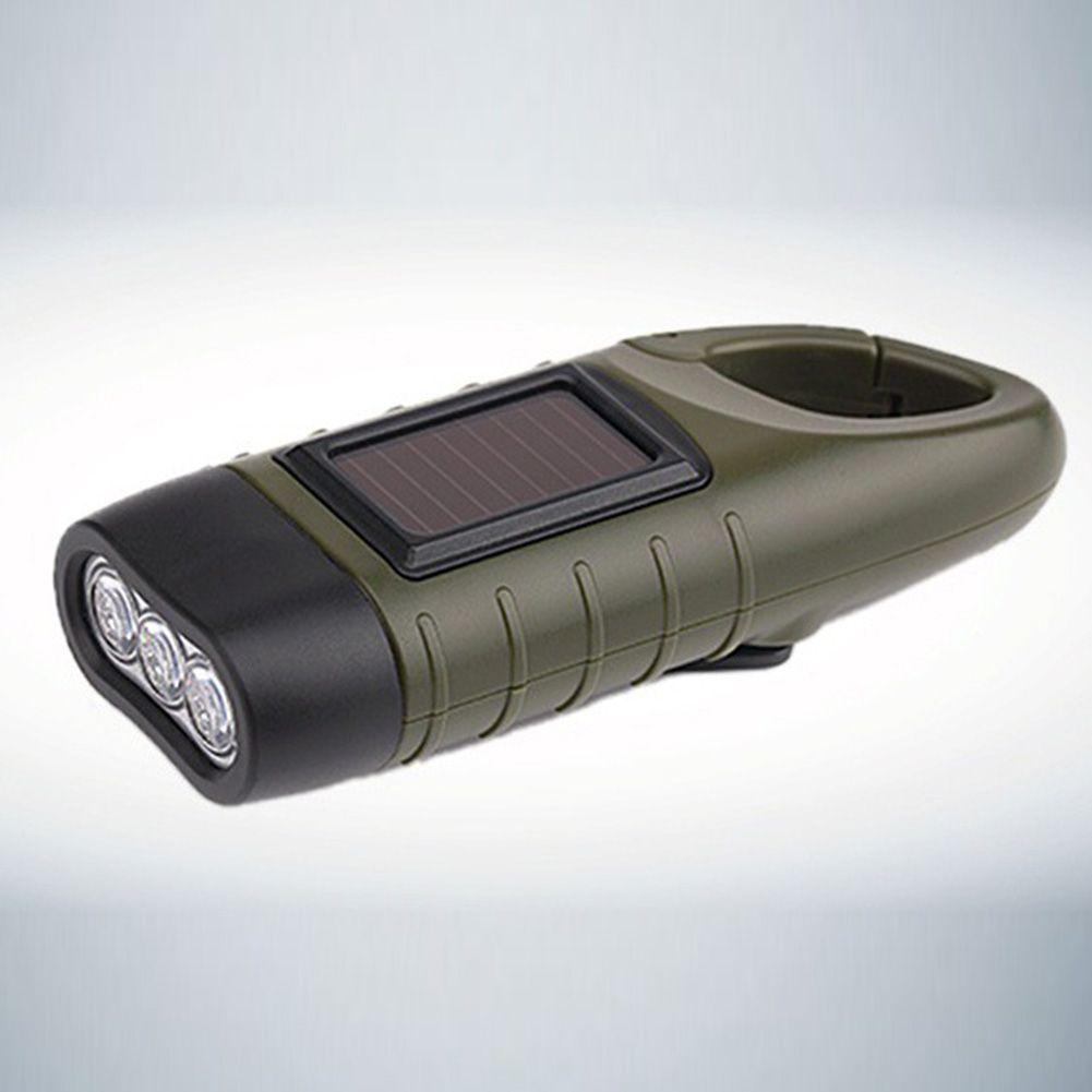 Hotsale Portable LED Hand Crank Dynamo Solar Power Flashlight Torch Outdoor Camping Mountaineering Night Linternas For Free Shipping