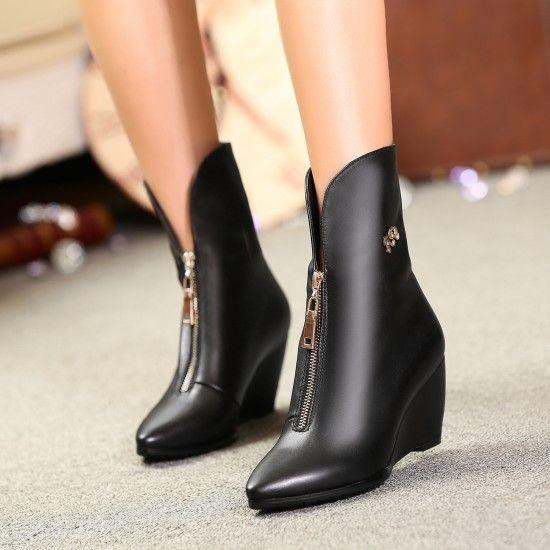 Botas de cuero genuino zapatos de la cuña puntiagudas pequeñas yardas 32 33 más el tamaño 40 43 44 7 CM tacón alto de euros Tamaño 31-45