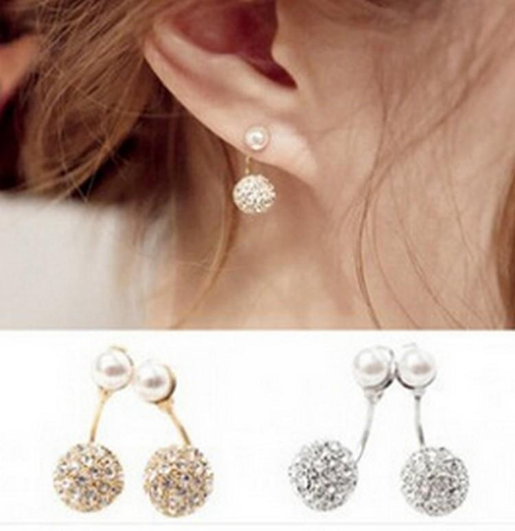 stud fashion simulated earrings women front hanging clips s jewelry statement back womens for ear pearl shoprandy accessories post shop