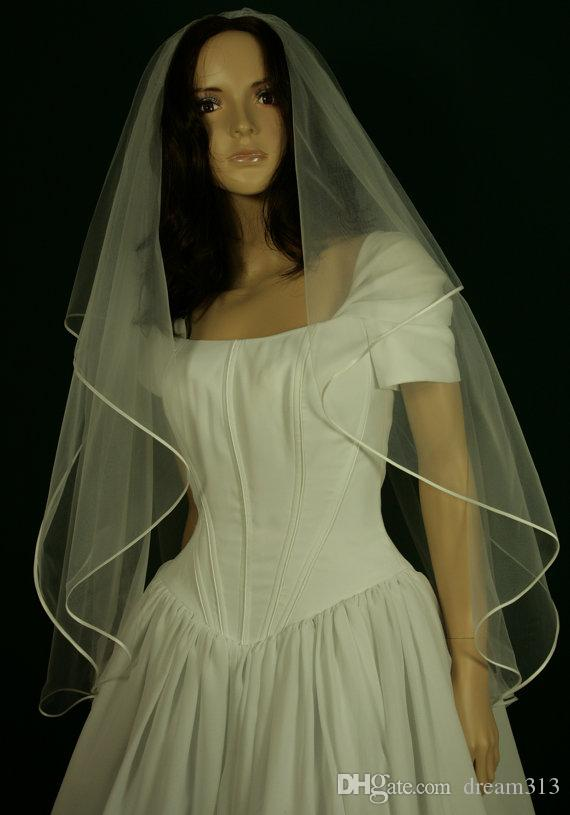 New Hight Qualityr Cheap Best Sale Two Layer Fingertip White Ivory Ribbon Edge Veil Bridal Head Pieces For Wedding Dresses