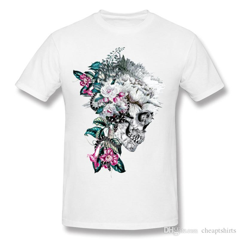 Magnificent men floral skull printed T-Shirt unique flower decoration design tops for boy hippie street style tees Momento Mori