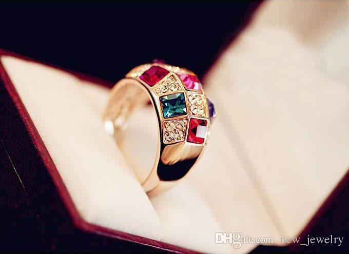 18K Vergulde Rainbow Diamond Ring Oostenrijk Tsjechische Crystal Luxe Crown Nobility Queen Finger Rings Fashion Show Sieraden Accessoires