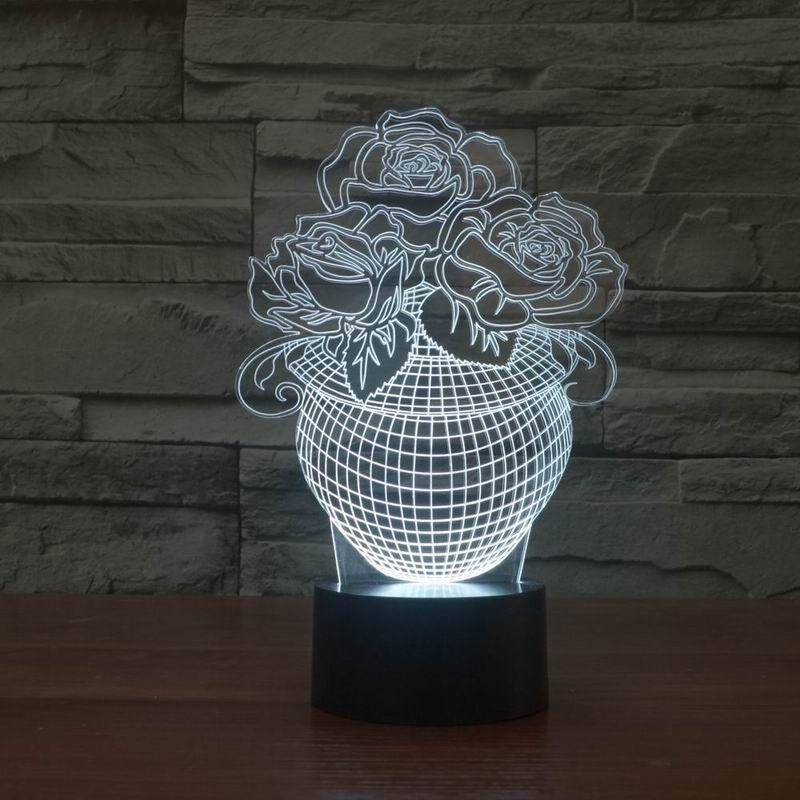 Night Light Envirormental 3D Светодиодная лампа USB Multi-Pattern Розовый череп красочный для свадьбы Deco Инновационный рождественский подарок