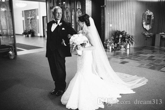 Соборная длина белой слоновой кости Шампанское Свадебная вуаль одна слой Bridal вуаль 248