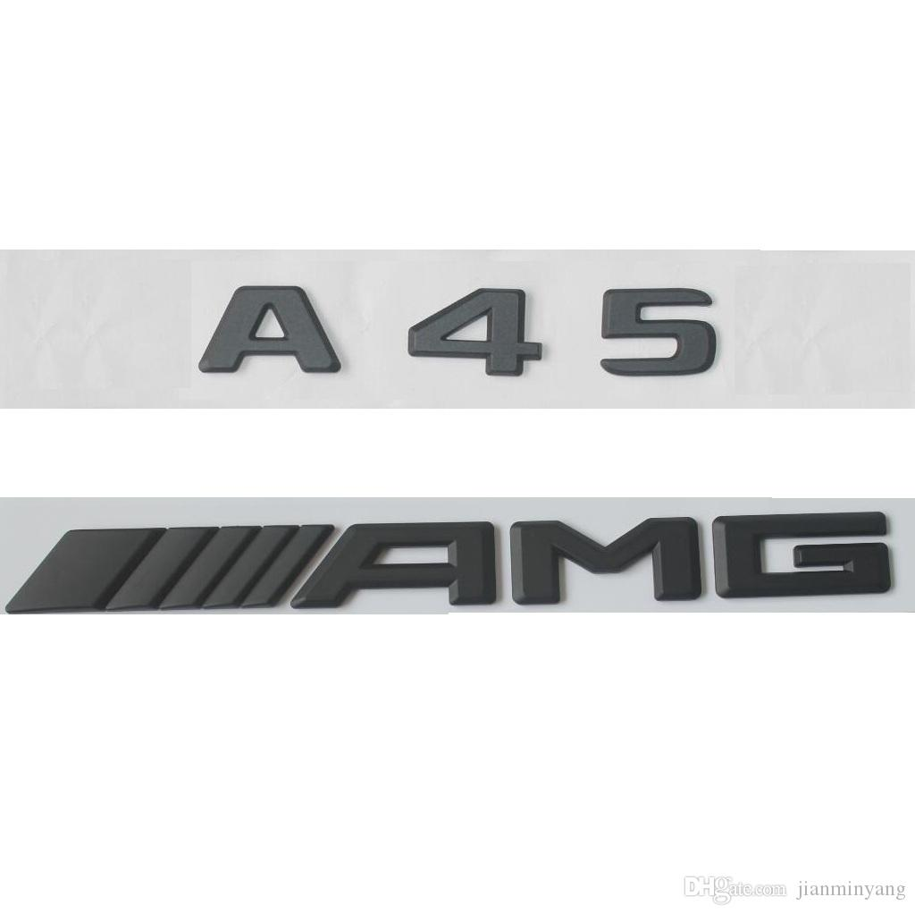 //////AMG Letters Trunk Emblem Badge Sticker For Benz A45 AMG Black Matt A45