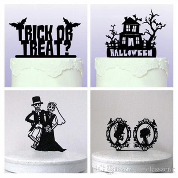 Suministros para fiestas tarjeta de Halloween Decoración de Halloween Negro cráneo Etc torta 5 Estilos de lujo del partido de acrílico de tortas insertado