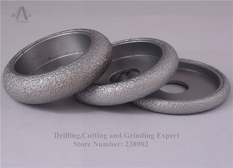 """3 """"roue de CONVEX de diamant brasée par vide de 75mm / roue de bordure en pierre pour la pierre, la pierre artificielle, la céramique, le verre, le béton etc."""