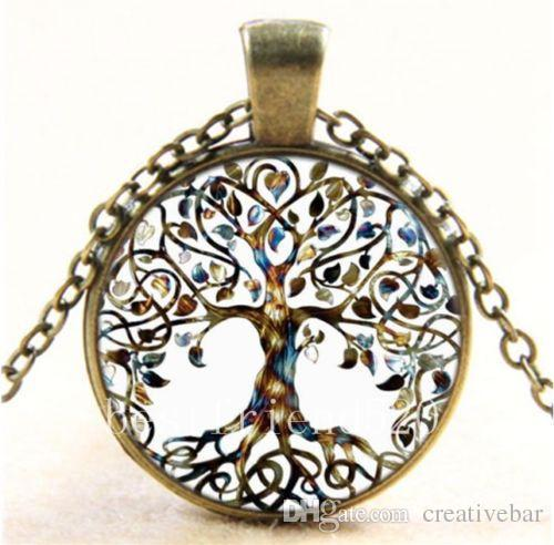 Vintage Living Tree of Life Glass Cabochon Bronze Chain Pendant Necklace H210973