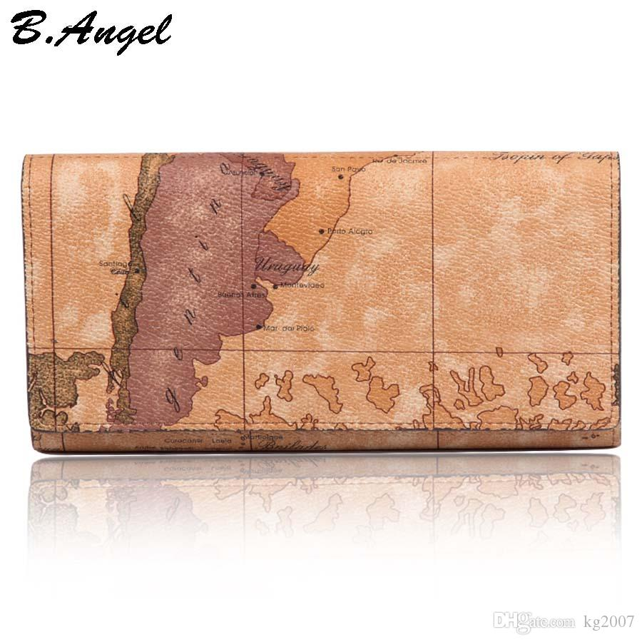 Waterproof Vintage Long Leather Map Pattern Wallet Purse for Women and Men Travel Style Hasp in Clutch Wallet Purse(Brown&White)