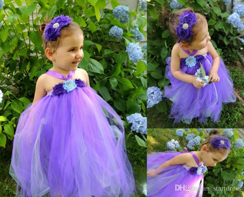 Purple Tutu Dresses Halter Flower Length Flower Girl Dresses For Wedding Sweet Flower Girl Beauty Toddler Dress Birthday Kids Pageant Dress
