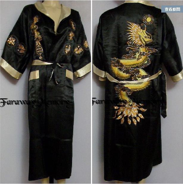 Double-Face Chinese Silk Men/'s Kimono Robe Gown Bathrobe Dress Pajamas Sleepwear