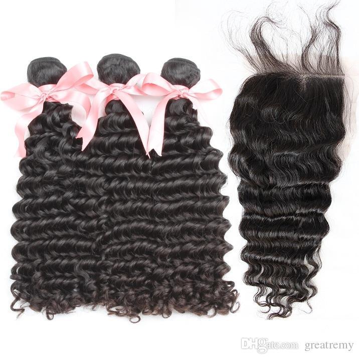 Gretremy® 100 غير المجهزة رخيصة الشعر البرازيلي 3 قطع حزم مع 1PC موجة عميقة مجانا الجزء إغلاق (4 * 4) رأس كامل صبغة الشحن