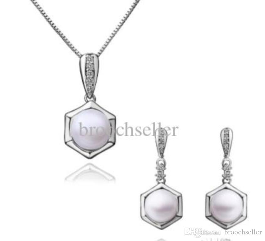 Vitguld pläterad vit pärla och cz rhinestone kristall brudtärna hängsmycke halsband och stud örhängen smycken set