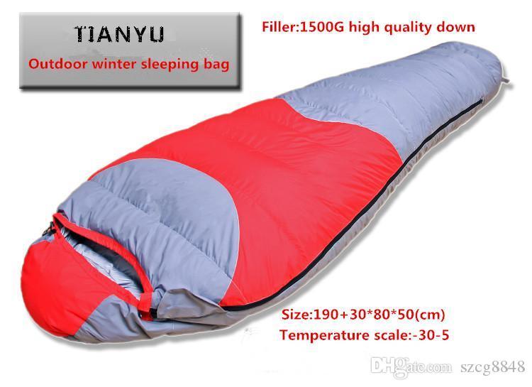 Высокое качество вниз спальный мешок (- 30degree) Зимняя мумия кемпинг спальный мешок 1500g вниз спальный мешок