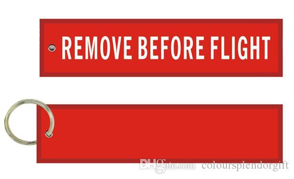 Entfernen Sie vor dem Flug Blank Custom Design Durable Fabric bestickt Motorrad Pilot Tag Luftfahrt Keychain
