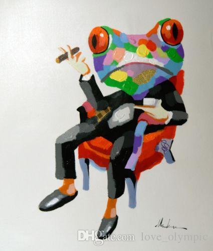 """Enmarcado, un montón al por mayor, envío libre R378 # pintado a mano moderno arte abstracto pintura al óleo """"animales rana"""" lienzo decoración de la pared del hogar tamaño múltiple"""