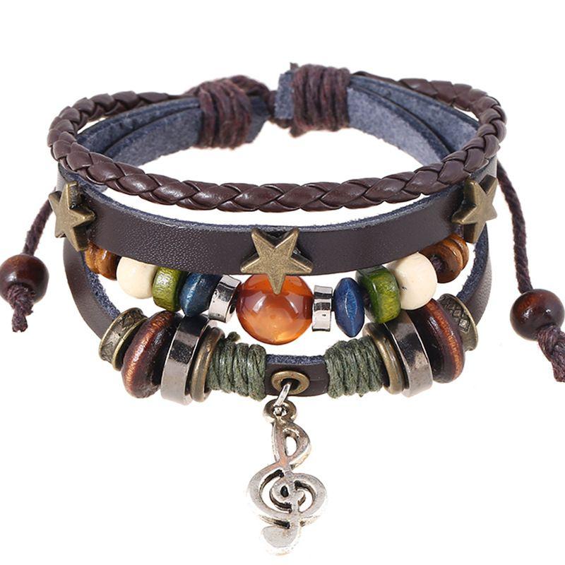 Wholesale Fashion Jewelry Leather Bracelet Women Casual Personality Musical notation Beaded Hemp Rope PU Vintage Punk Bracelet Men BB014