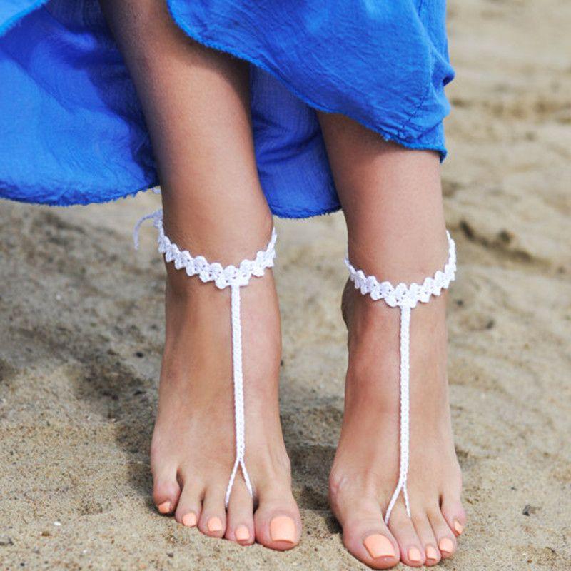 1 쌍 또는 2 PCS 비치 웨딩 구두, 여름 여성 구두, 웨딩 크로 셰 뜨개질 흰색 맨발 샌들 요가 신발