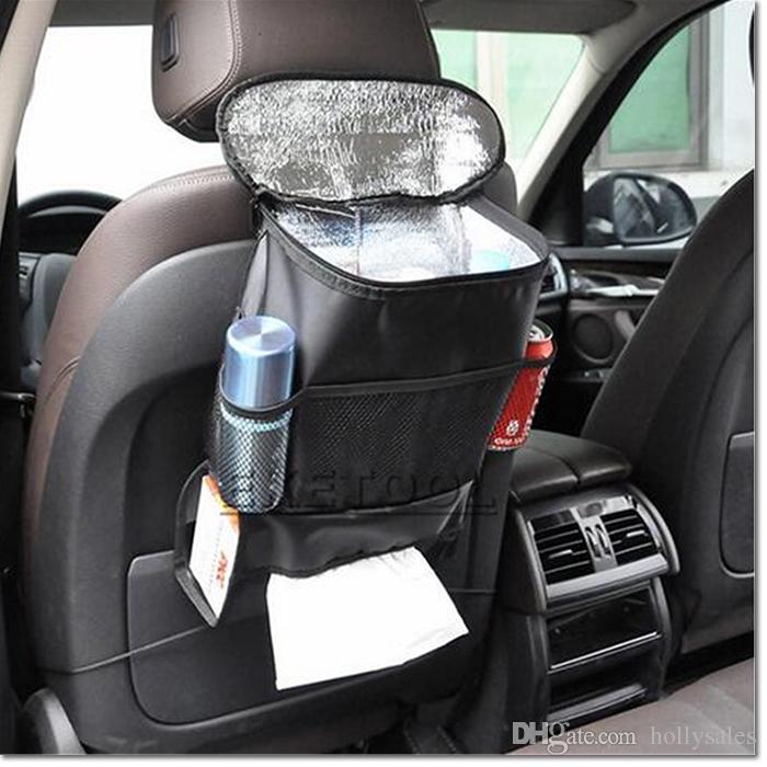 UK Car Seat Back Mult-Pocket Hanging Storage Leather Bag Organiser Drink Food