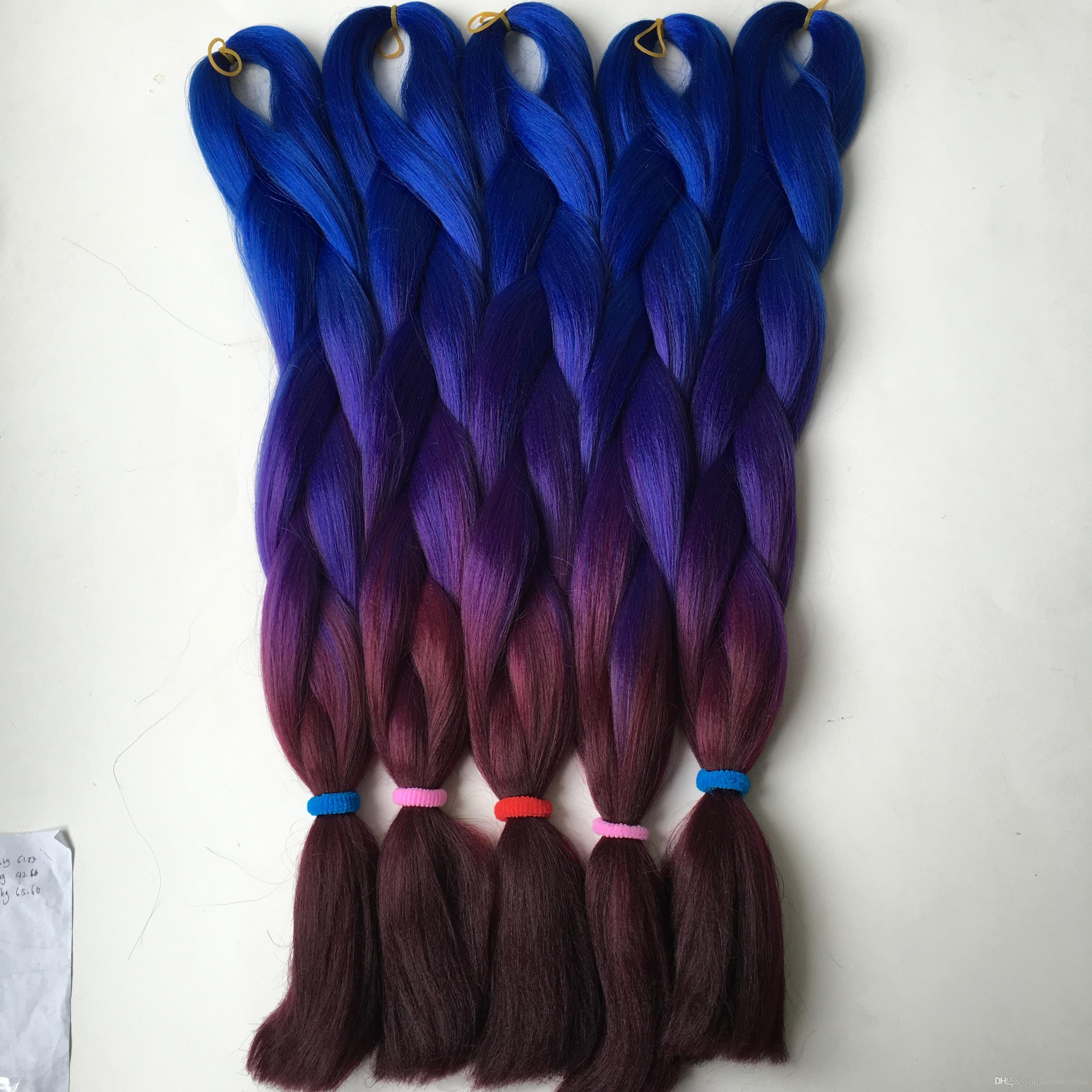 10 개 / 몫 kanekalon 점보 꼬기 머리 다크 블루 퍼플 버 컬러 고온 합성 점보 꼬기 머리 무료 배송