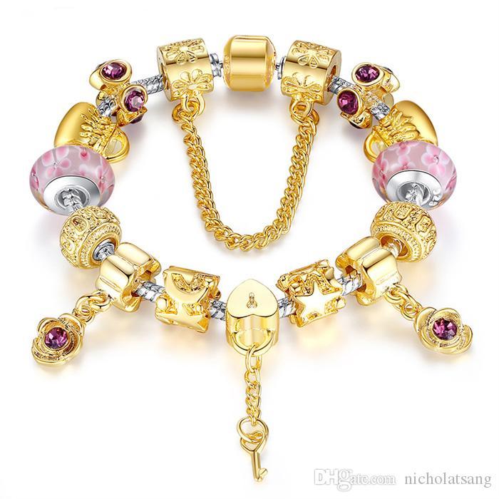 3 Estilos de Moda de Lujo Pulseras Pandora DIY para Las Mujeres Granos de Cristal de Bloqueo y Clave Chapado En Oro Regalo de la Pulsera para el Amante Joyería de Alta Calidad