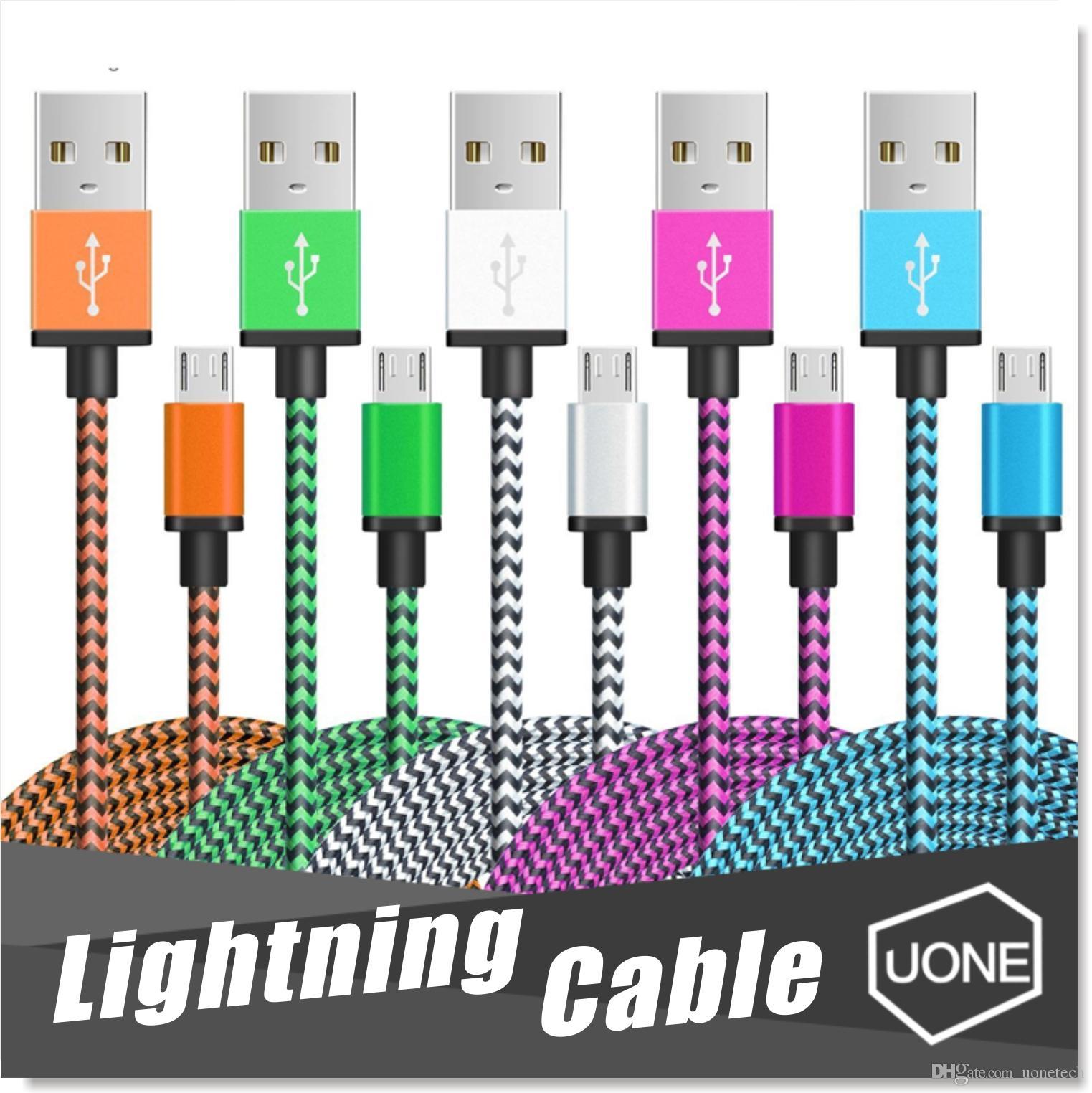 Micro USB Cabo Nylon trançado cabo de cobre Carregador Sync Cable dados para Andriod entregas samsung borda galáxia S7 S6 S4