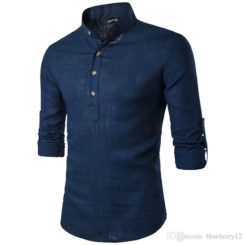 Solid Casual Linen Men Shirts Mens Long Sleeve Dress Shirts Cotton Shirt Men Shirt Plus Size Slim Fit Homme