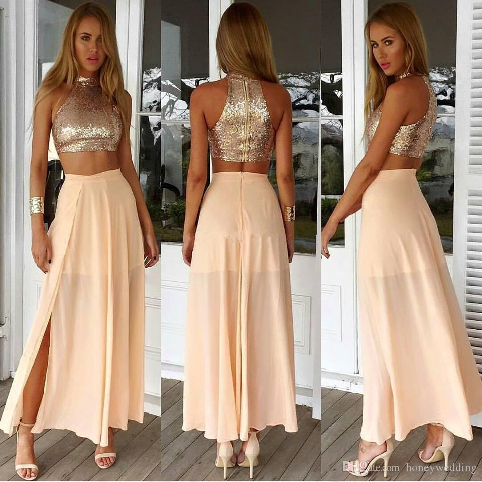 Light Pink / Champagne Two Piece Prom Party Dresses Cheap High Neck Sequined Chiffon Split Junior Formal Dresses Evening Wear Cheap