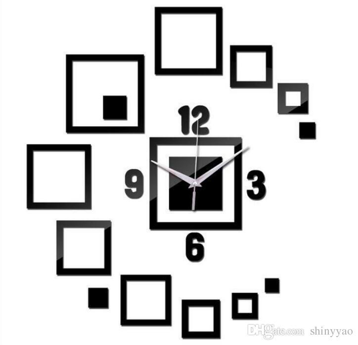 DIY Creative espelho caixa espelho relógio relógio de parede sala de estar relógio de parede 3d estéreo acrílico