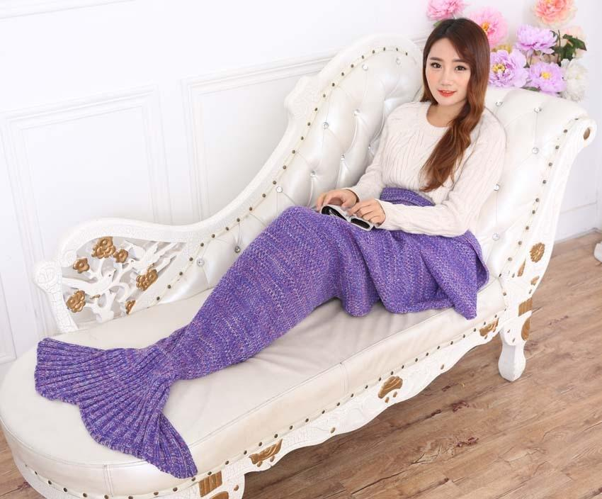 Yarn Knitted Mermaid Tail Blanket Handmade Crochet Mermaid Blanket Kids Throw Bed Wrap Super Soft Sleeping Bed X184 (1)