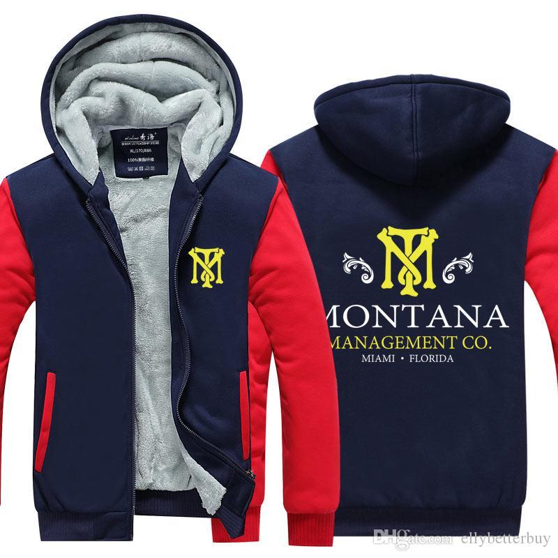 Yeni Sıcak Erkek kapüşonlu Scarface Kalınlaşmak Fleece Tony Montana Kış Coat ABD, AB Artı Boyutu geldi