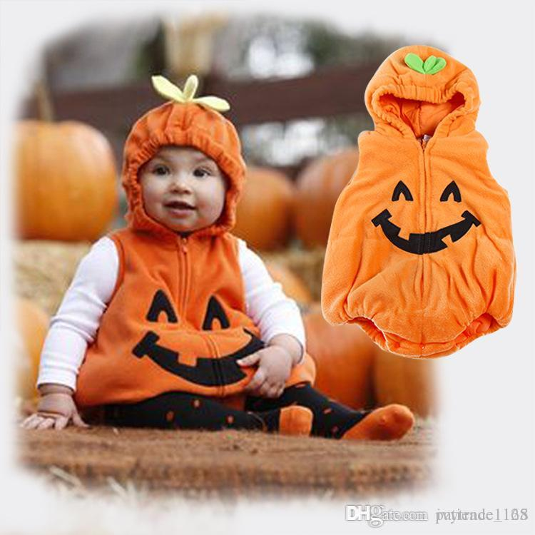 Cadılar bayramı Avrupa ve Amerika tarzı Bebek çocuklar Güzel kabak kalınlaşma pamuk kapşonlu romper% 100% pamuk çocuklar romper ücretsiz kargo