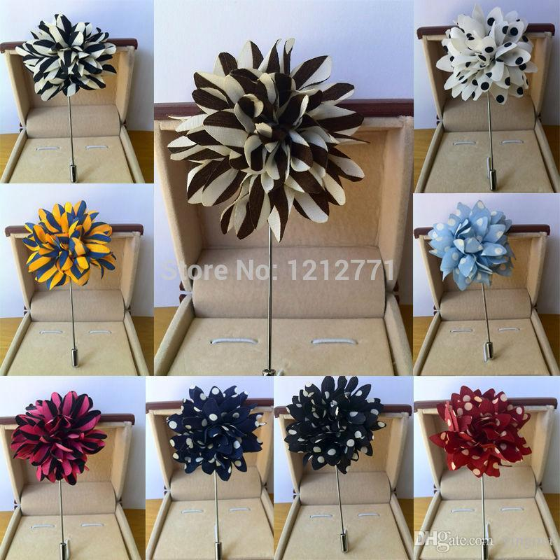 New fashion Men brooch Flower Lapel pin 5cm suit Boutonniere fabric yarn pin 12 colors button Stick flower brooches Wholesale for wedding