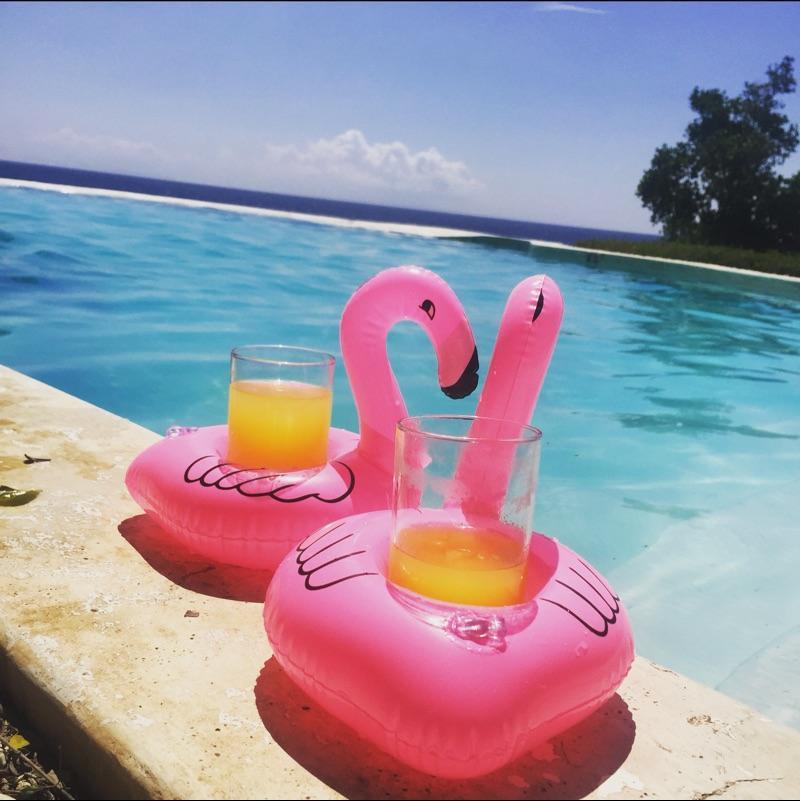 Flamingos-aufblasbarer Getränk-Schalen-Halter-Flaschen-Halter-Rosa-sich hin- und herbewegender Dosenhalter-reizendes Pool-Bad-Spielzeug 10pcs / lot