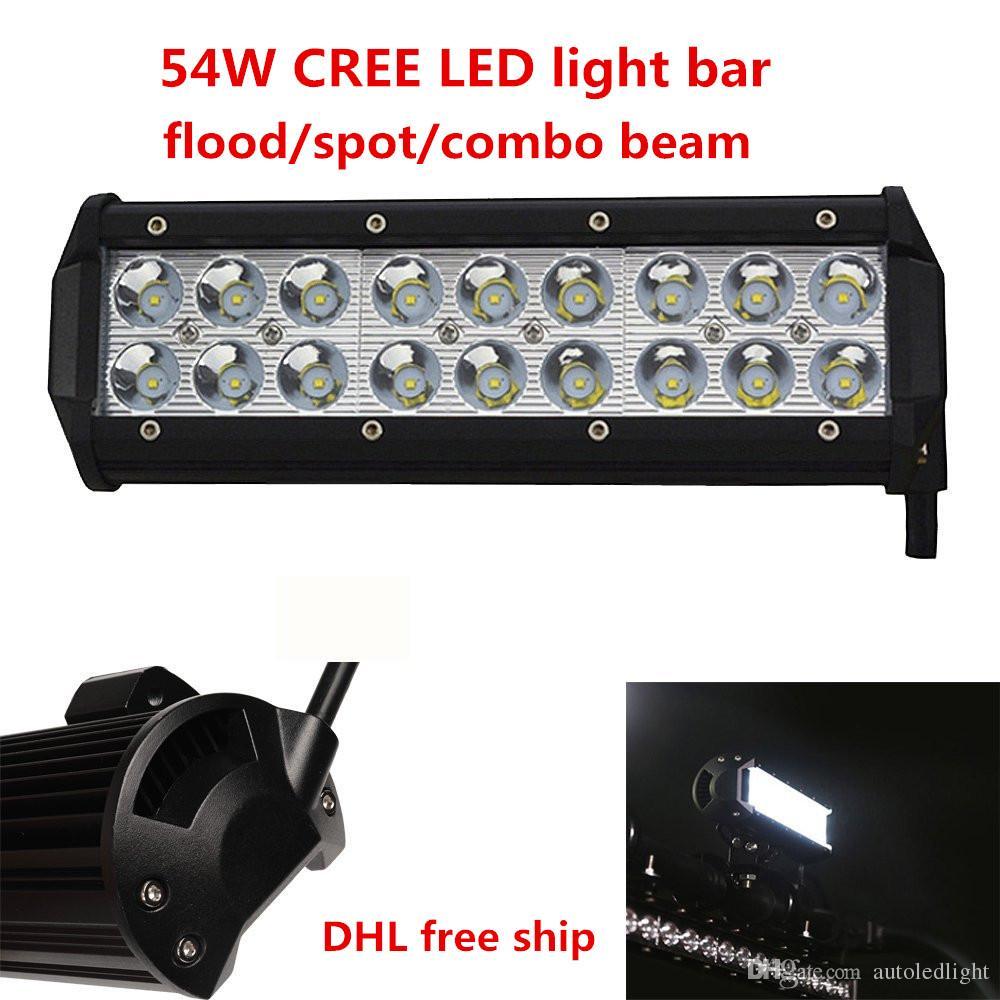 Lighting 9 inch white 54W LED WORK Light bar 4*4 FLOOD TRUCK BOAT OFFROAD utv