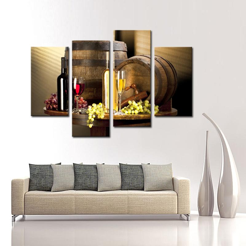 4 Pieces Canvas Painting Art Wine And Fruit With Glass Barrel Wall Art Painting Print On Canvas Food For Home Decor With Wooden Frame
