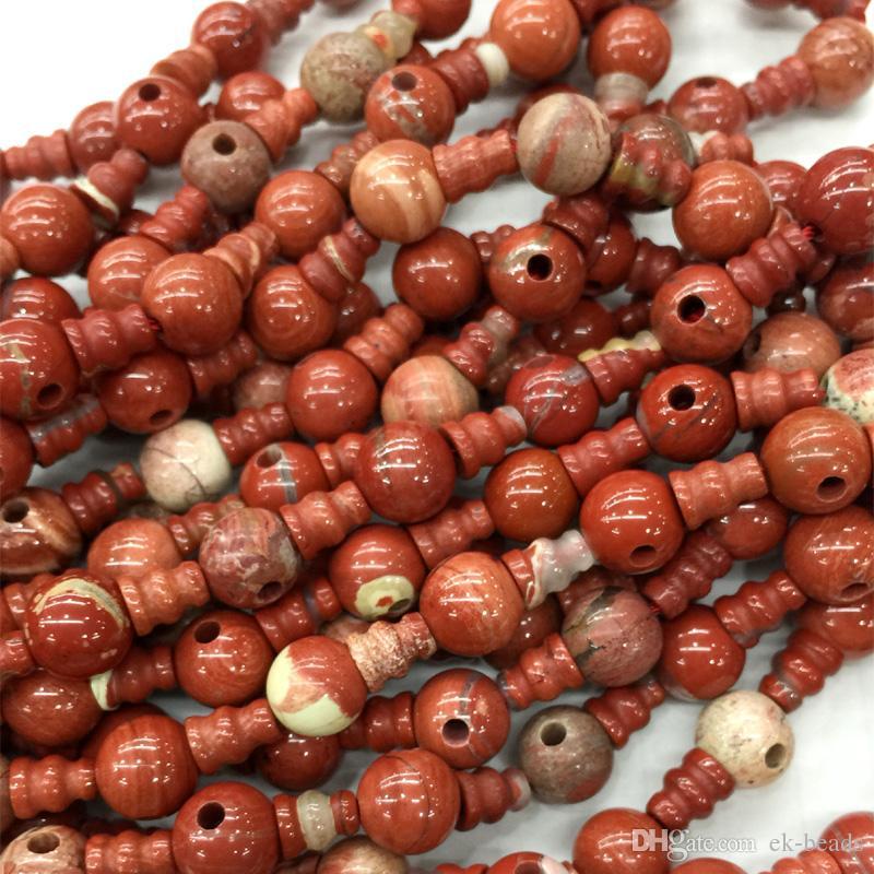 Natural Genuine Laranja Vermelho Jasper Pagode Tee Buddha Cabeça Tibet Guru Beads Fit Jóias Colares DIY (10 Miçangas / lote) 04214