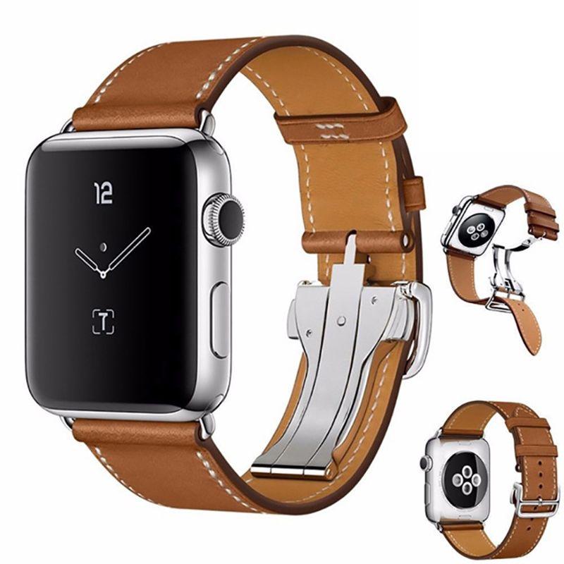 Exclusivo Hebilla desplegable Bellas real cuero de la pulsera de la correa de banda de reloj de Apple 38 mm 40 mm 44 mm 42 mm para la serie iWatch 1 2 3 4 5 Correa
