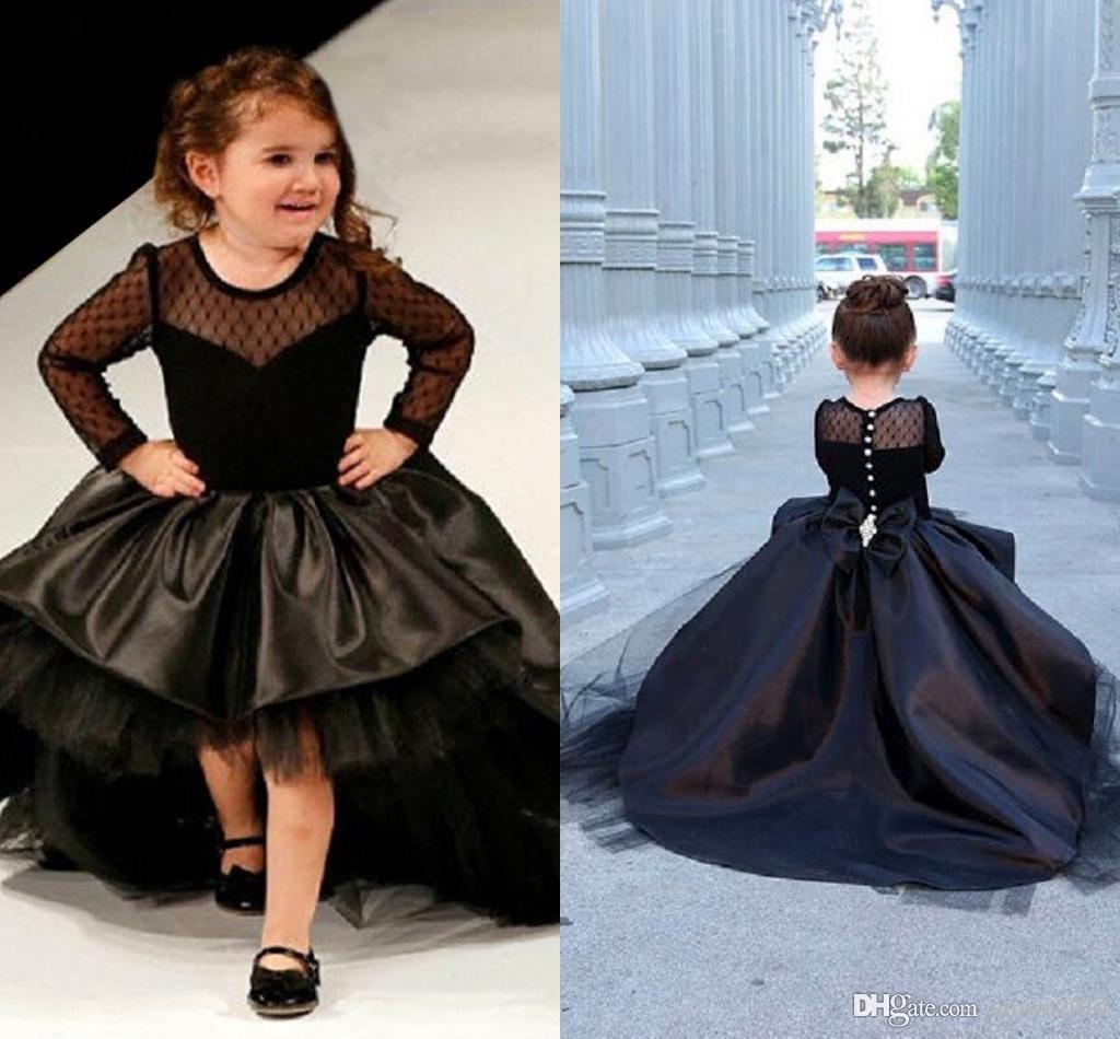 2021 New Black Long Sleeve Flower Girl Abiti per matrimoni con fiocco tulle gioiello collo gonfio in rilievo in rilievo alta bassa bambina con pageant vestito formale