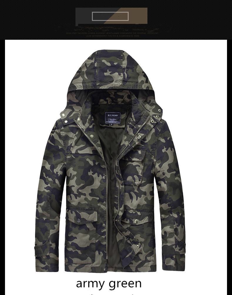 Cotton Blend Military Camo Mens Slim Casual Shirts Jeakets Long Sleeve Coats