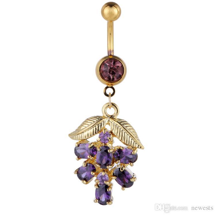 العنب البطن زر خاتم الزركون بطن زر هيئة ثقب المجوهرات